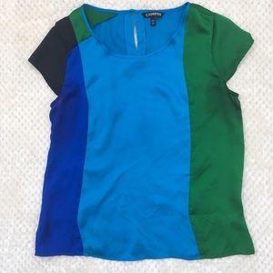 Express Color Block Short Sleeve Blouse